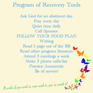 program of recovery tools