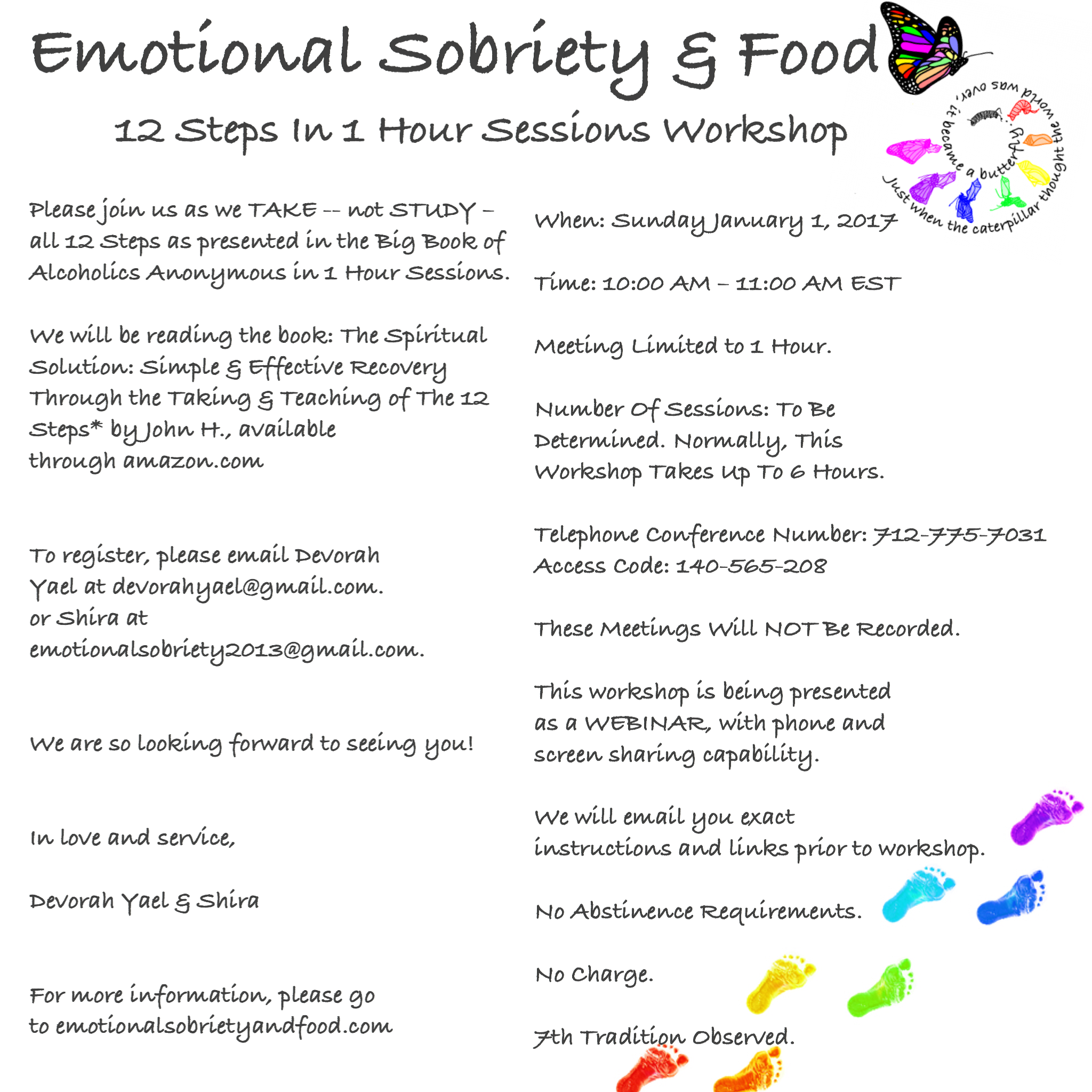Emotional Sobriety and Food 12 Steps in 1 Hour Sessions Workshop – Alcoholics Anonymous 12 Steps Worksheets