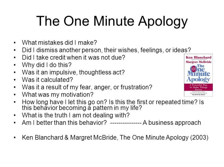 1 minute apology summary