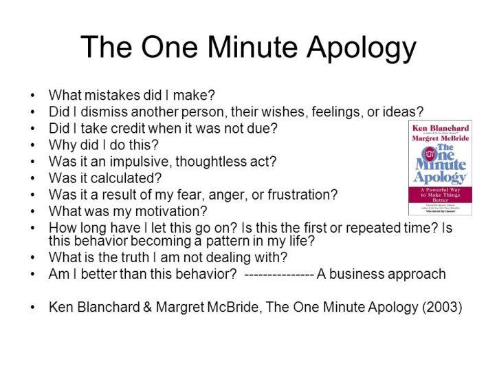 1 minute apology summary