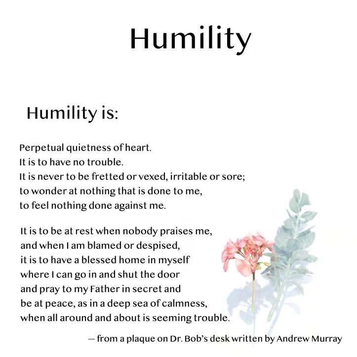 Humility Plaque on Dr. Bob's desk