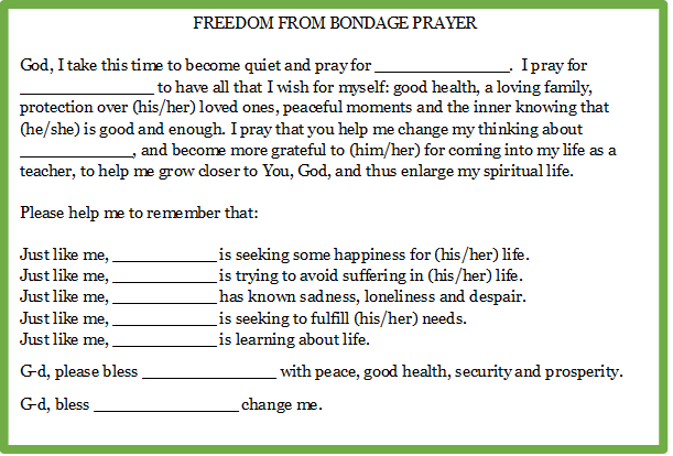 Freedom from bondage prayer
